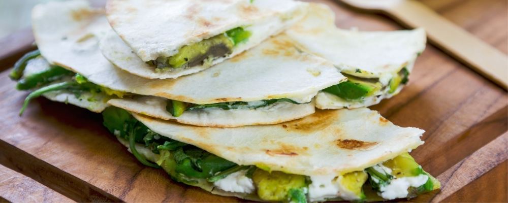 Spinach Avocado and Goats Cheese Quesadillas
