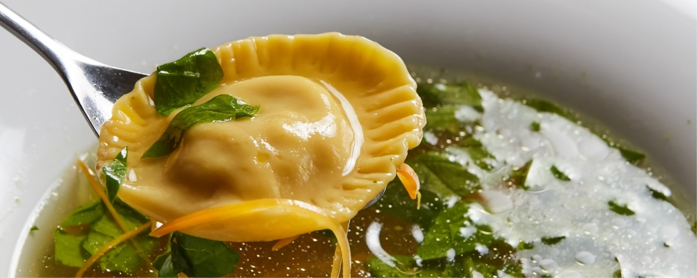 Mushroom and Cheese Ravioli in Brodo