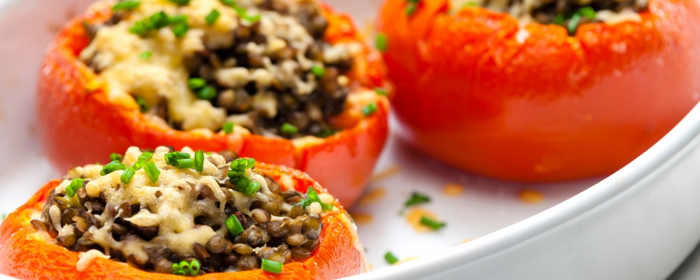 BBQ Lentil Stuffed Tomatoes