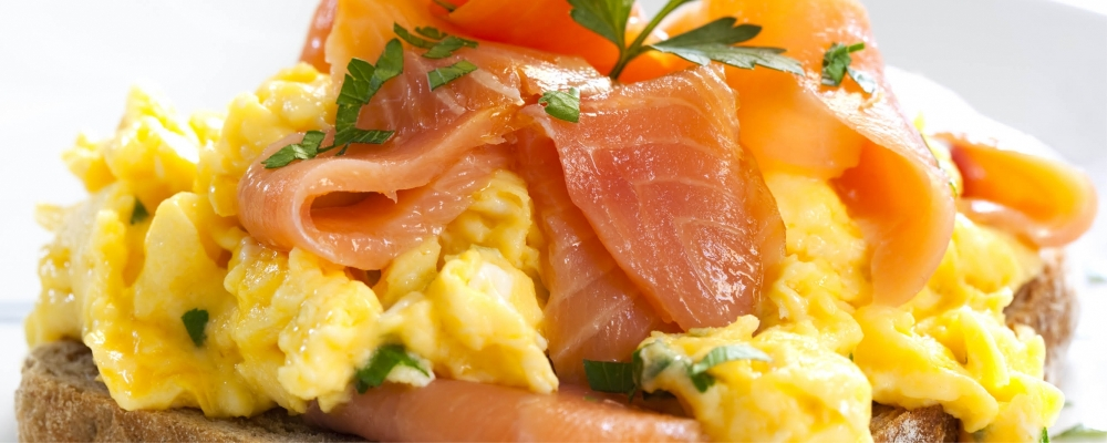 Sour Dough Croute, Scrambled Egg and Smoked Salmon, Lobster Hollandaise