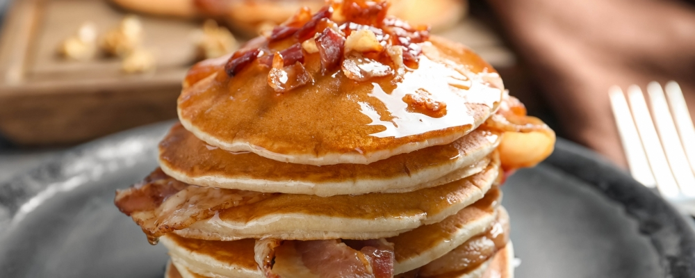 Beer and bacon pancakes