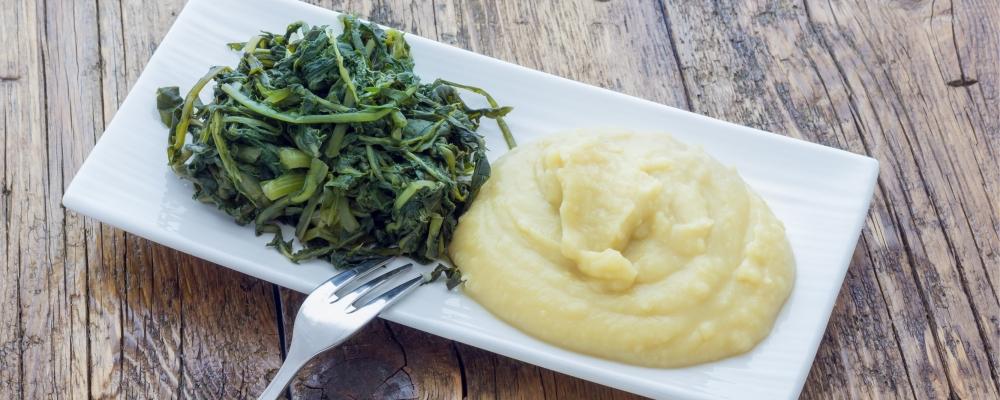 Turnip Mash with Greens, Caramelised Onions and Feta