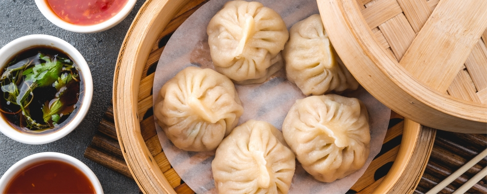 Pork and Prawn Dumplings with Aromatic Dipping Sauce