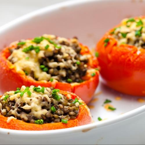 BBQ Lentil Stuffed Tomatoes