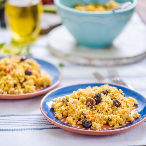 Chermoula Spiced Vegetable Couscous with Dried Fruits