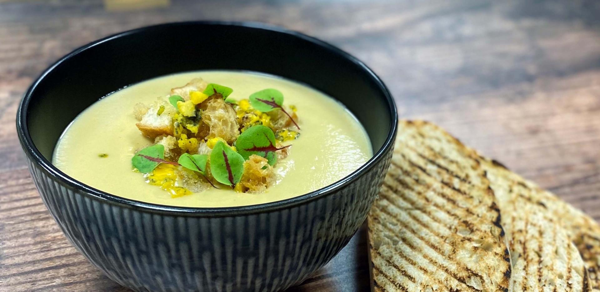 Cream of Celeriac and Shropshire Blue Cheese Soup