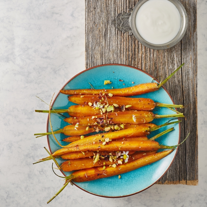 Harissa and Maple Syrup Roasted Baby Carrots with Pistachios