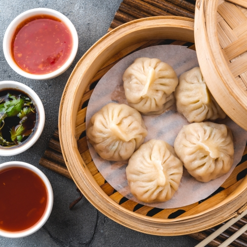 Prawn and Pork Dumplings with Aromatic Dipping Sauce