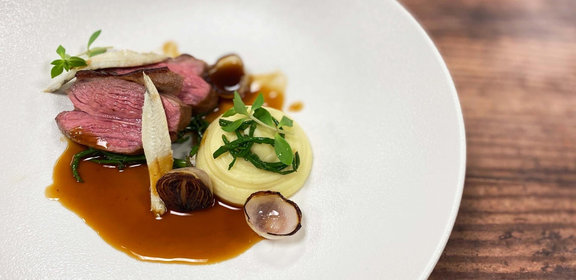 Romney Marsh Lamb Rump, Pomme Puree, Samphire and Anchovies