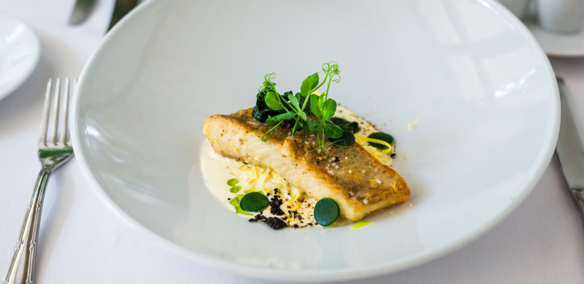 Seared Sea Bass with Saffron and Mussel Broth