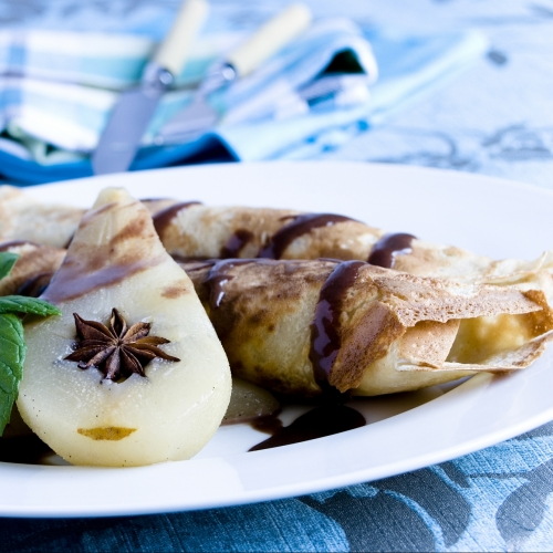Socca Pancakes with Hot Chocolate Mousse and Roasted Pears