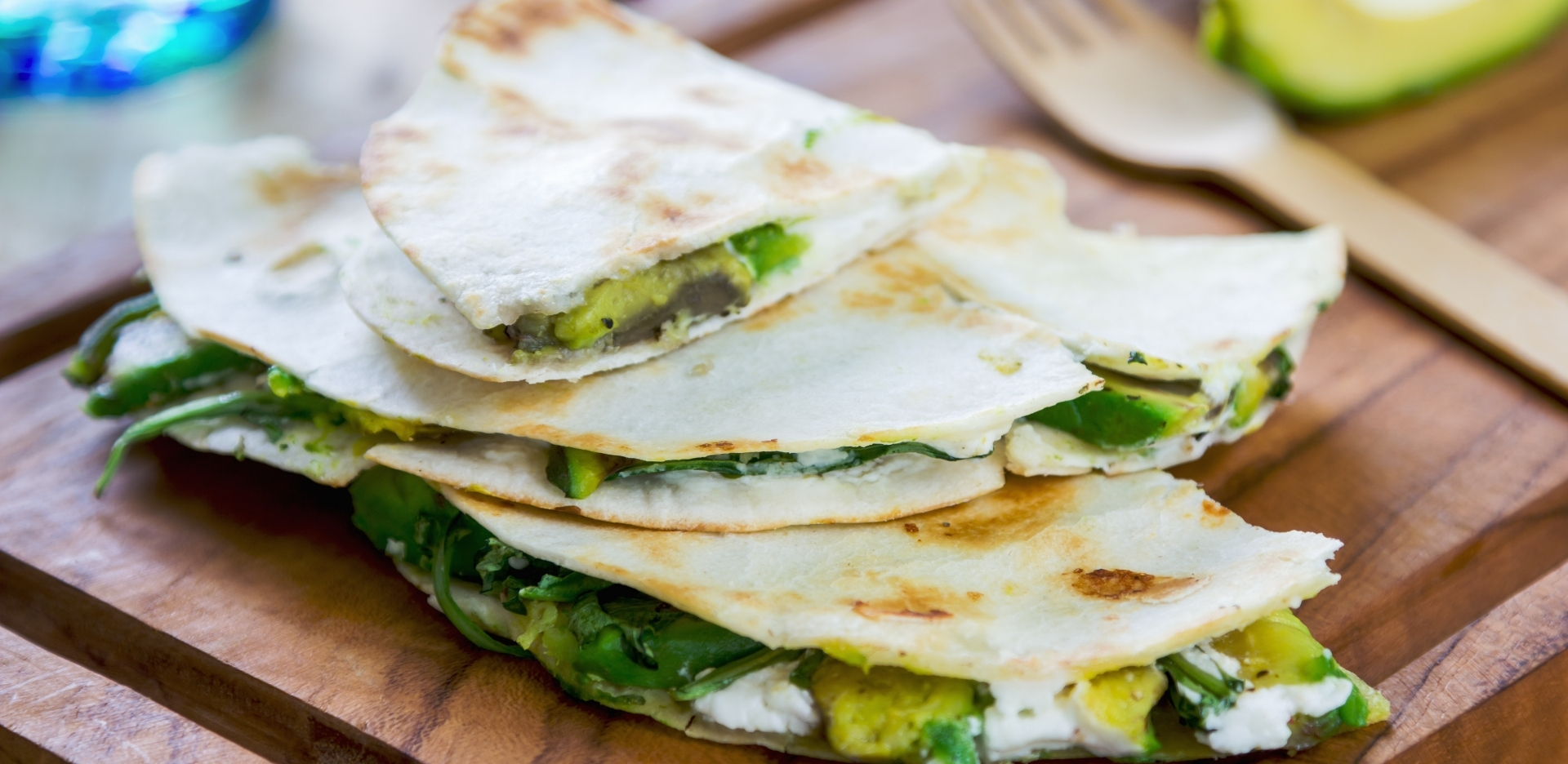 Spinach, Avocado and Goats Cheese Quesadillas