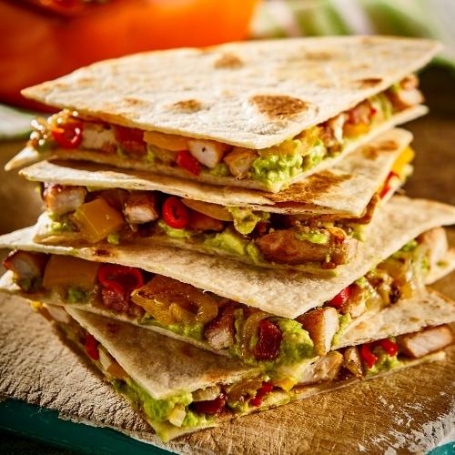 Turkey, Spinach, Avocado and Cream Cheese Quesadillas
