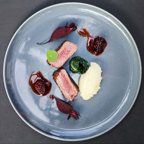 Venison Loin Medallions with a Blackberry, Gin and Port Jus